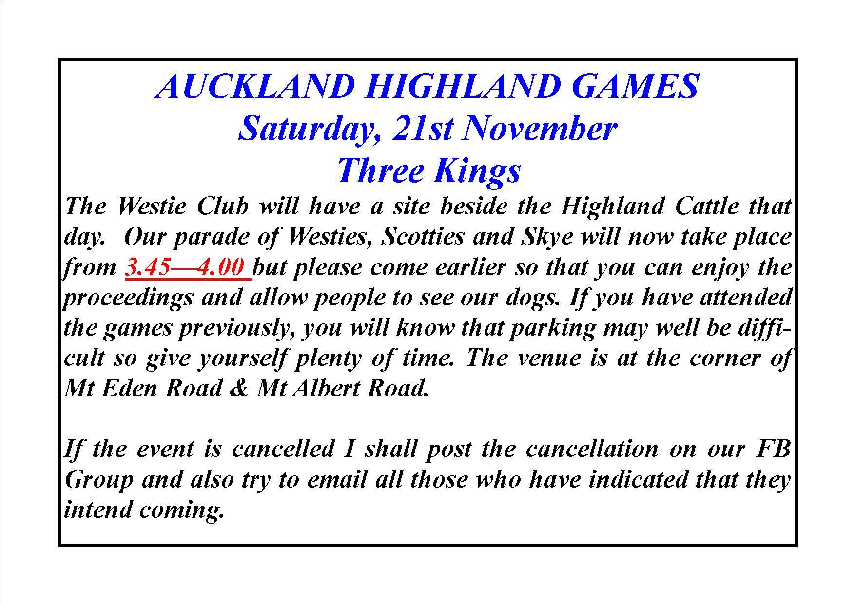 2015 Highland Games Announcement